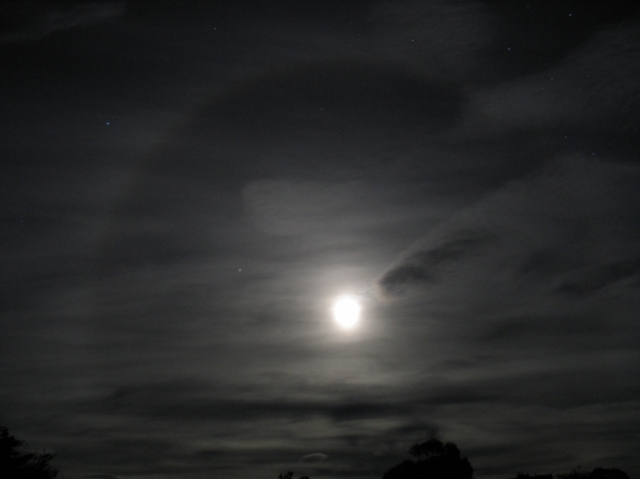 Moon ring seen just before midnight